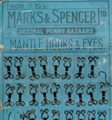 Haberdashery items like these hooks and eyes were very popular with customers and the Archive holds many examples