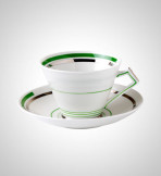 This tea set is one of many in the archive and was donated by Doreen Newlyn. It features a beautiful art deco design.